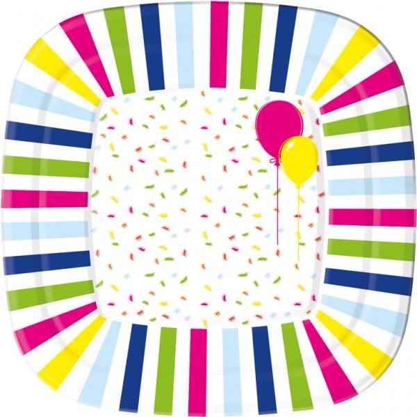 Pappteller eckig, weiss, 22x22cm, Balloons & Confetti