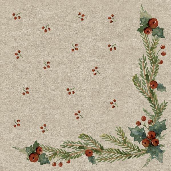 Papierservietten, Beige, Rot, 33 x 33 cm, Mistletoe