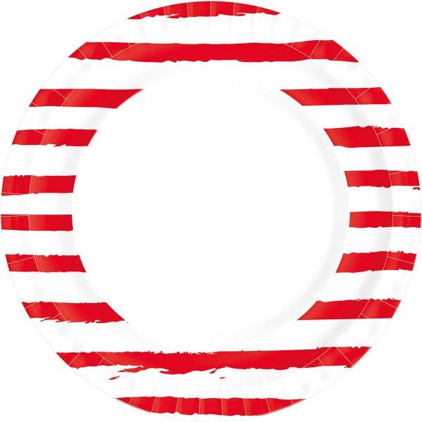 Bio Pappteller, rot weiss, gestreift, ø 22 cm