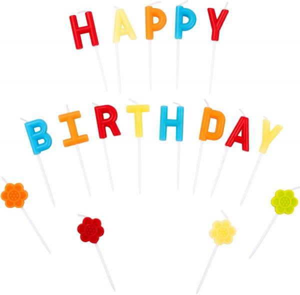 Geburtstagskerzen Happy Birthday, 17Stk.