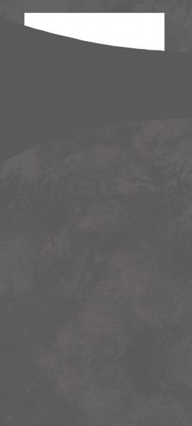 Bestecktasche Papier, granitgrau mit weisser Serviette, 8.5 x 19 cm