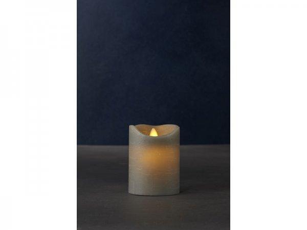 LED-Kerze, grau, echtwachs, 7,5cm x 10cm