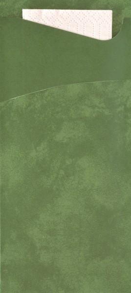 Bestecktasche Papier, dunkelgrün mit cremefarbener Serviette, 8.5 x 19 cm