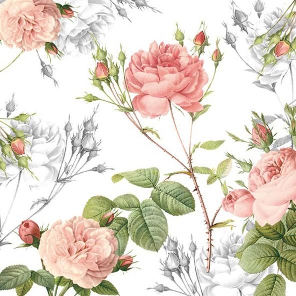 Papierservietten, weiss, rosa, 33x33cm, garden pride