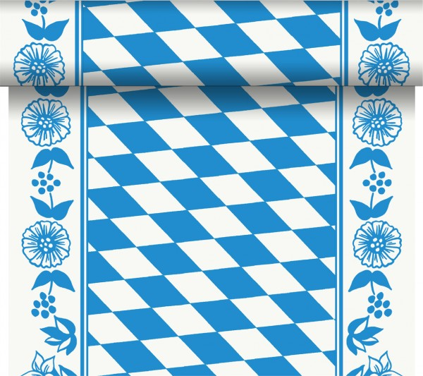 Tête-à-Tête, Tischläufer, Weiss, Blau, 0.4 x 24 m