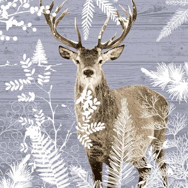 Papierservietten, Grau, Braun, 33 x 33 cm, Imperial Stag
