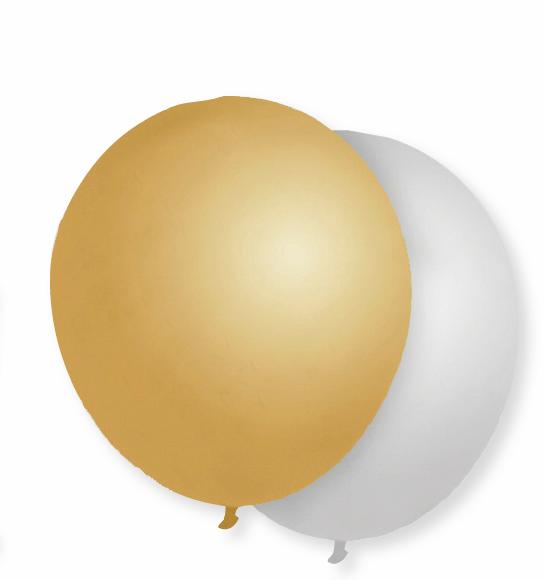 Luftballons, gold & silber