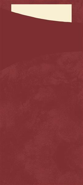 Bestecktasche Papier, bordeaux mit cremefarbener Serviette, 8.5 x 19 cm