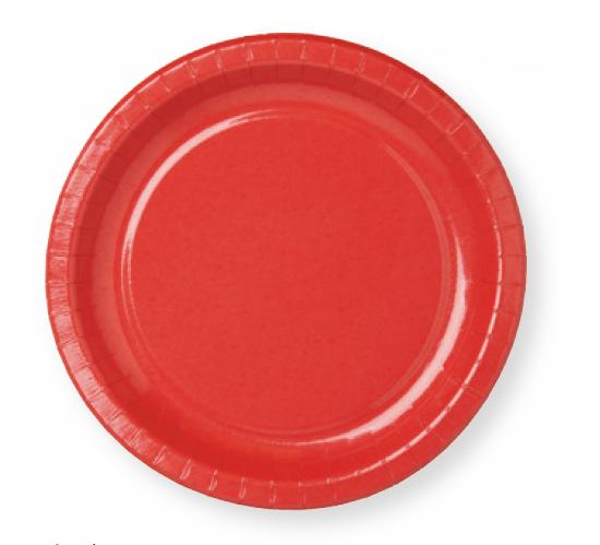 Pappteller rund, rot, ø22 cm