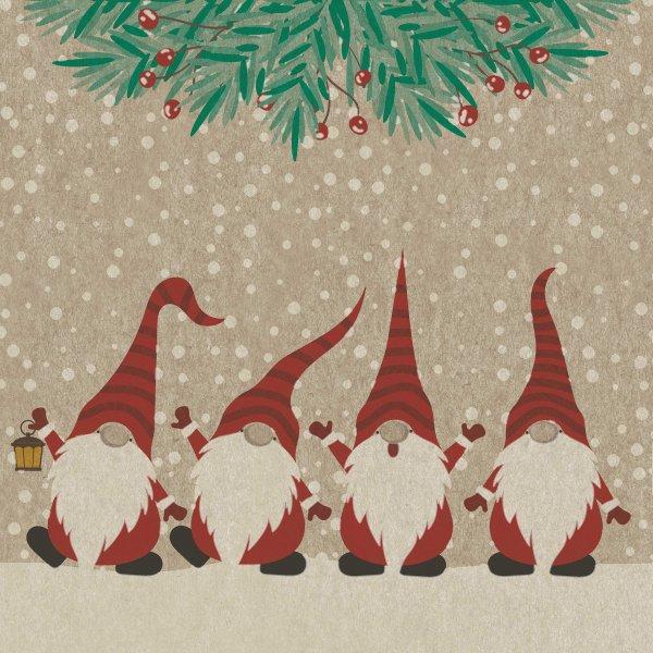 Papierservietten, Beige, Rot, 24 x 24 cm, Happy Santas