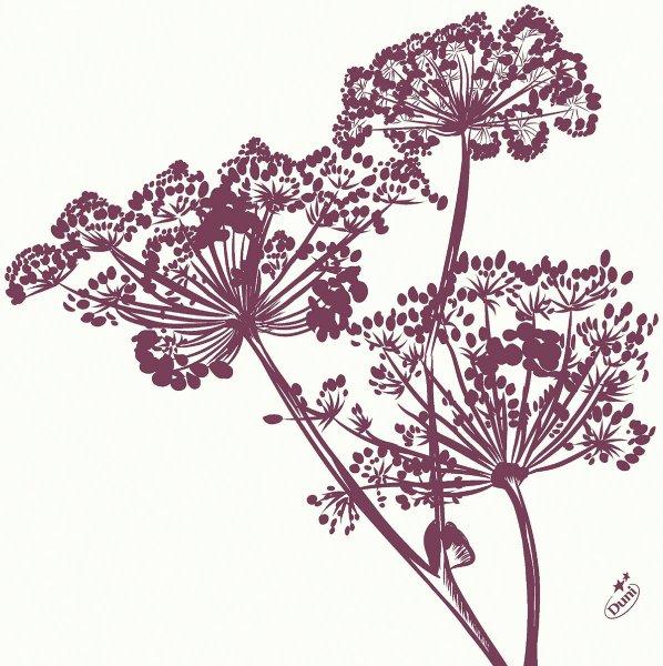 Dunilin Servietten, Weiss, Violett, 40 x 40 cm
