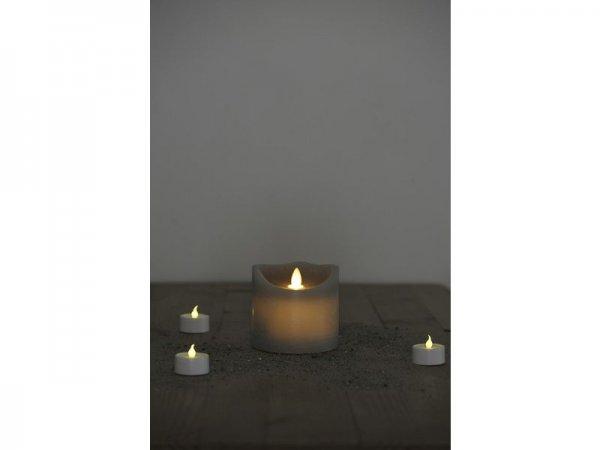 LED-Kerze, grau, echtwachs, 10cm x 9cm