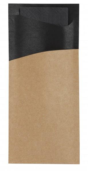 Bestecktasche Papier, gold und schwarz 8.5 x 19 cm
