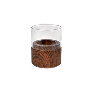Kerzenhalter NEAT, Glas, Wood Dark, 70 x 61 mm