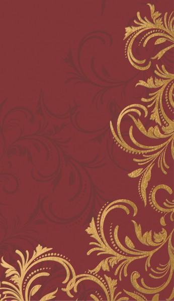 Mitteldecke Papier, rot, gold, 84x84cm, Grace Bordeaux