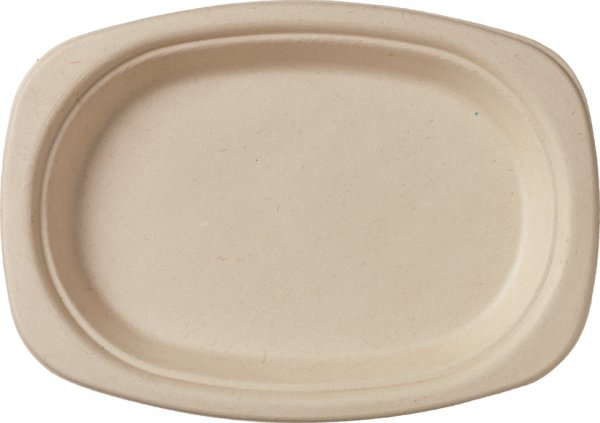 "Bagasse Teller oval, Braun, ⌀ 22 cm, ""ecoecho"""