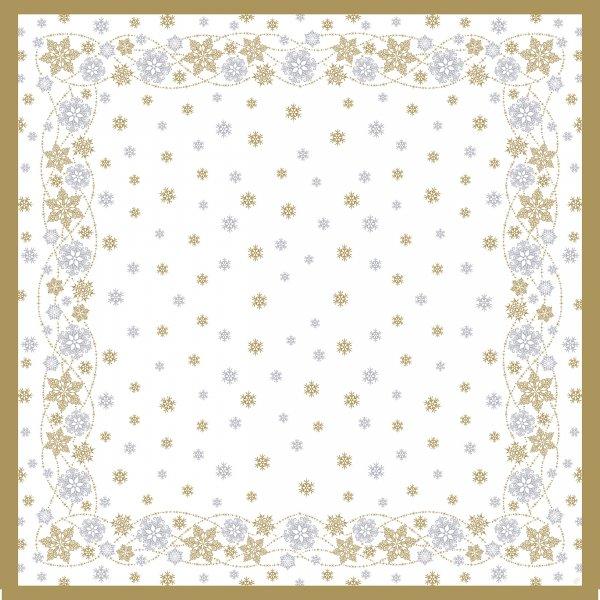Mitteldecke Papier, Weiss, Gold, 84 x 84 cm