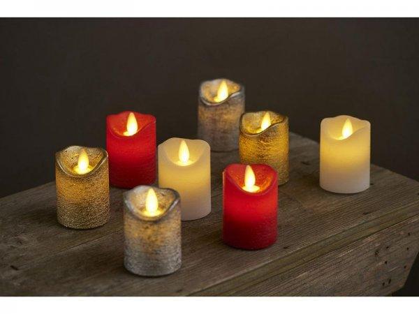 LED-Kerze, rot, echtwachs, 5 cm x 6,5 cm, 2er Set