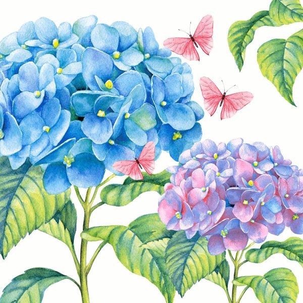 Papierservietten, blau, lila, 24x24 cm