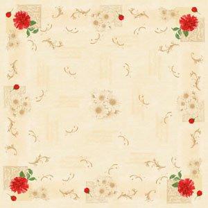 Mitteldecke Papier, Rot, Beige, 84 x 84 cm