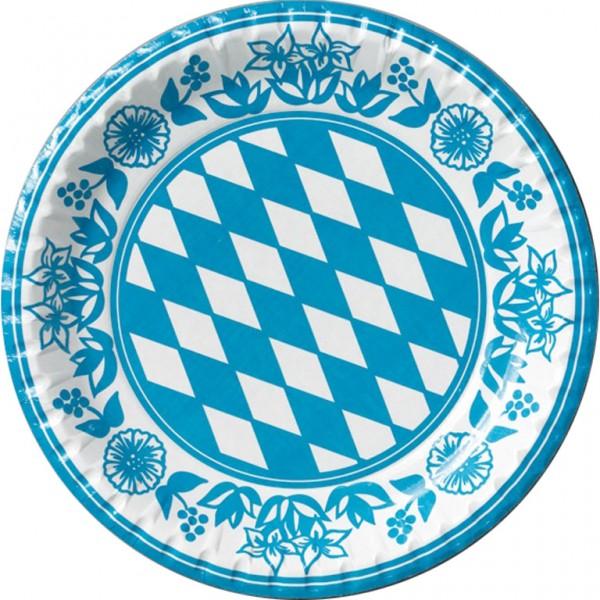 Pappteller, laminiert, weiss blau, ø 22cm