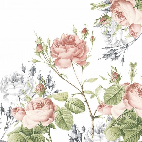 Papierservietten, Weiss, Rosa, 40 x 40 cm