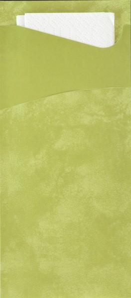 Bestecktasche Papier, grün mit weisser Serviette, 8.5 x 19 cm