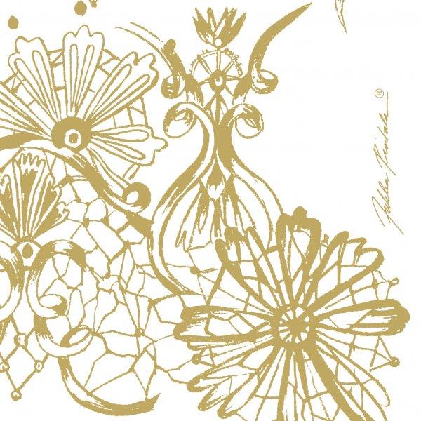Papierservietten, Weiss, Gold, 24 x 24 cm