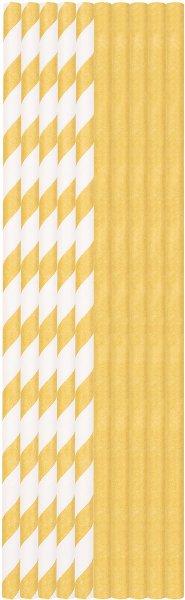 Bio Papiertrinkhalme, gold & weiss, 20 cm