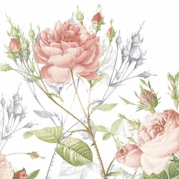 Papierservietten, Weiss, Rosa, 24 x 24 cm