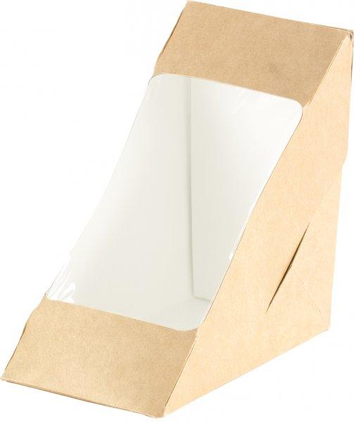 """Karton/PLA Sandwichecken-Box mit Fenster, Braun, 5,9 dl, """"ecoecho"""""""