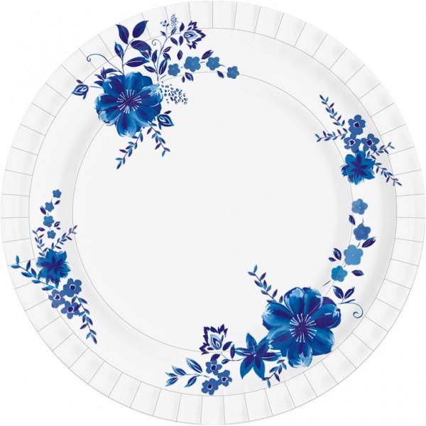 Pappteller rund, weiss, blau, ø 22cm