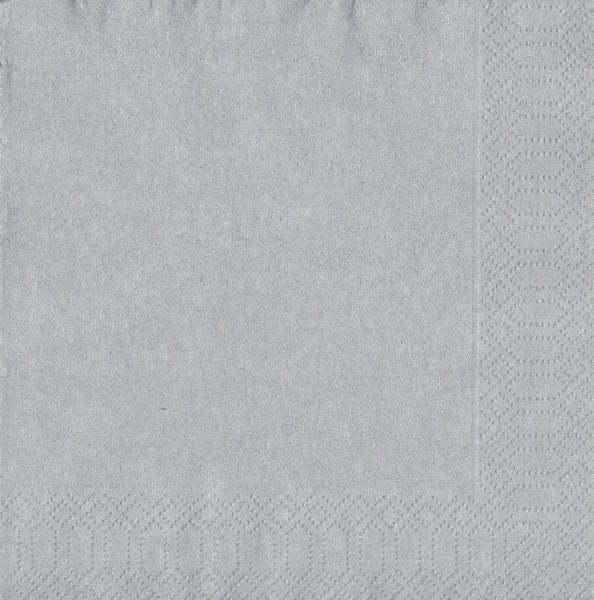 Papierservietten, Silber, 33 x 33 cm