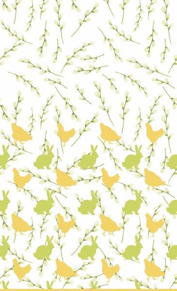 Tischdecke Papier, Weiss, Gelb, Grün, 138 x 220 cm