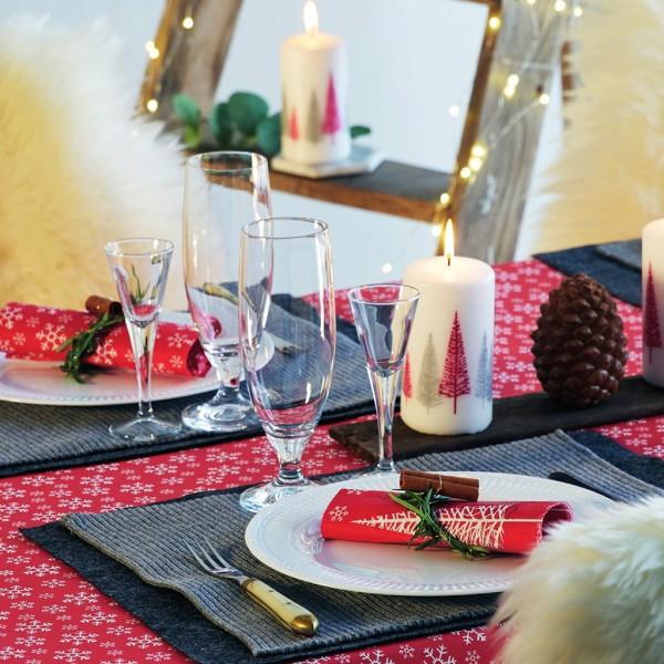 Tischset, Tischläufer, Tête-à-Tête Papier, Red Snowflakes, 40x480cm