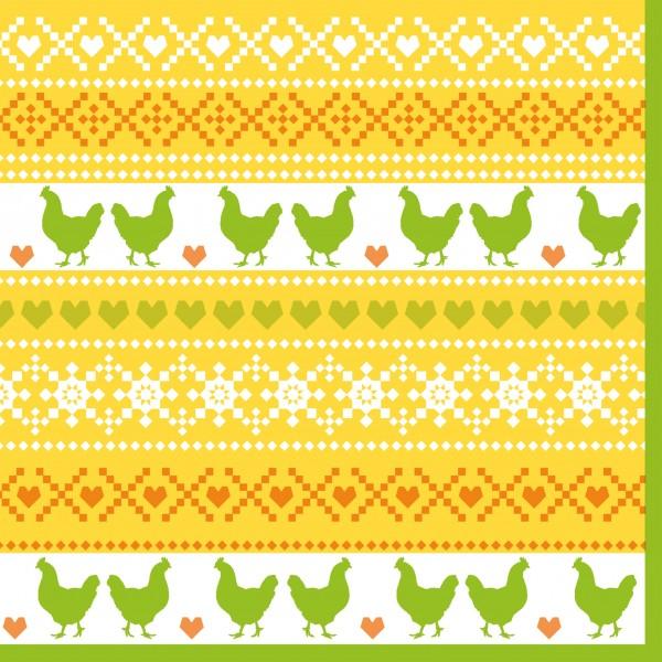 Papierservietten, gelb, grün, 33x33 cm