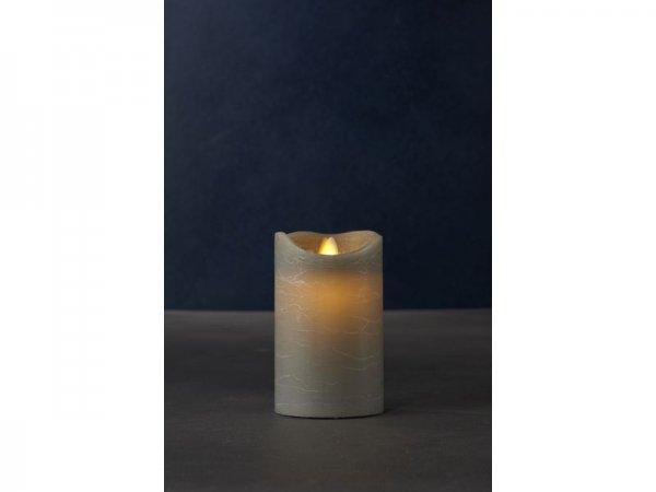 LED-Kerze, grau, echtwachs, 7,5cm x 12,5cm