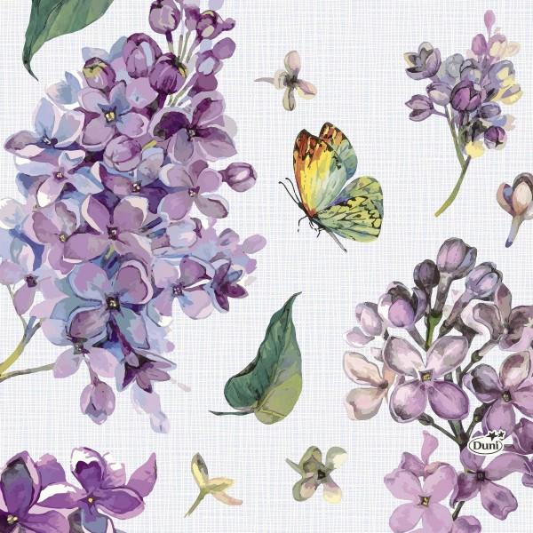 Papierservietten, Weiss, Lila, 33 x 33 cm