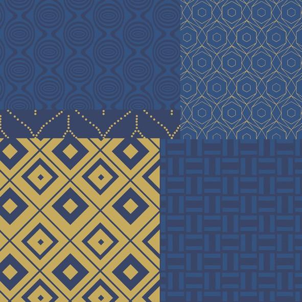 Papierservietten, blau, gold, 33x33cm