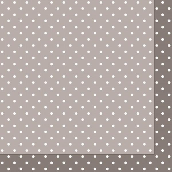 Papierservietten, grau, 24x24cm, gepunktet