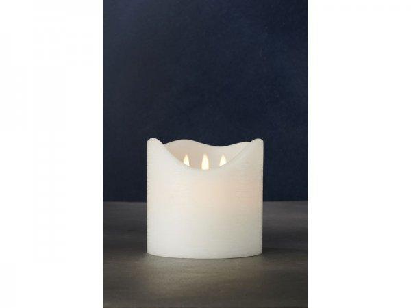 LED-Kerze, weiss, echtwachs, 15cm x 15cm