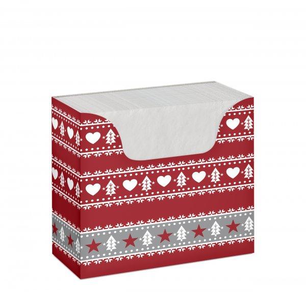 Serviettenbox, Grau, Rot, 1-lagig, 33 x 33 cm