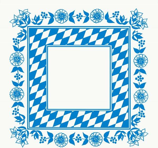 Mitteldecken Papier, Weiss, Blau, 84 x 84 cm