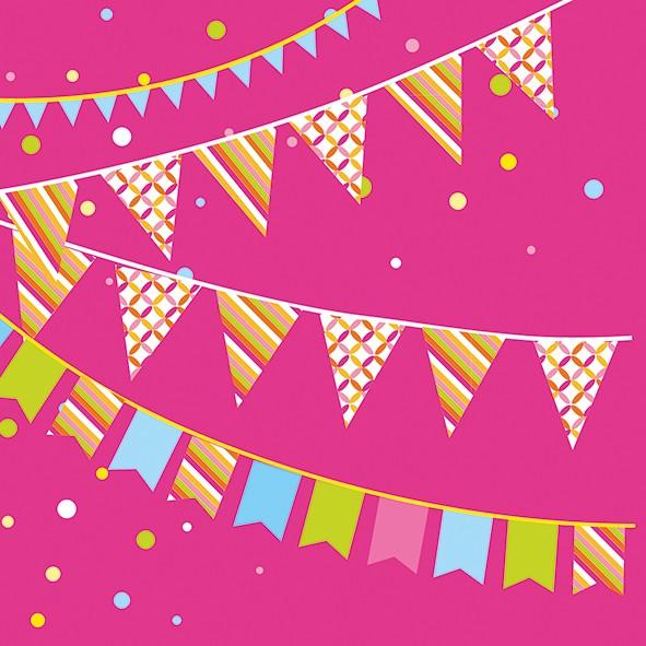 Papierservietten, pink, 33x33cm, Party
