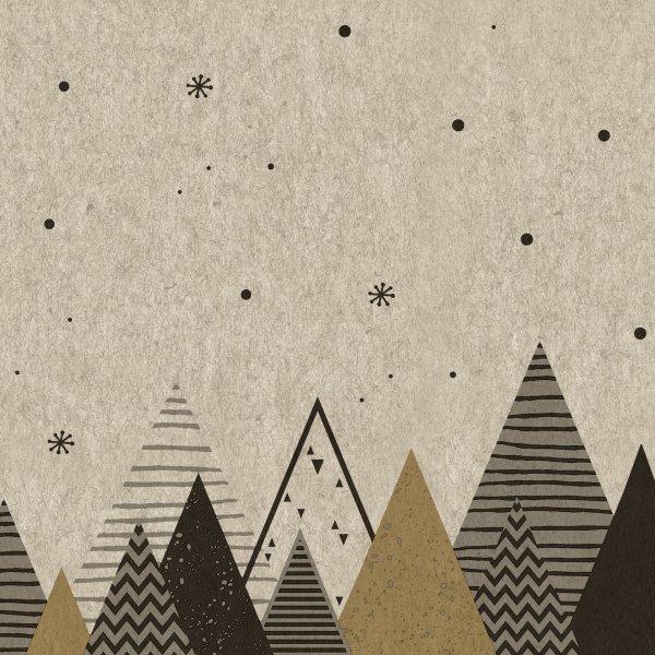 Papierservietten, Beige, Braun, 33 x 33 cm, Graphic Trees