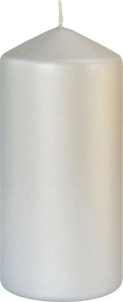Stumpenkerze, Silber, matt, 15 x ø 7 cm, ca. 50 Stunden