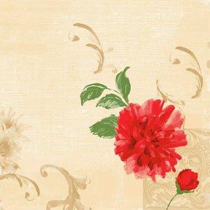 Papierservietten, Rot, Beige , 40 x 40 cm