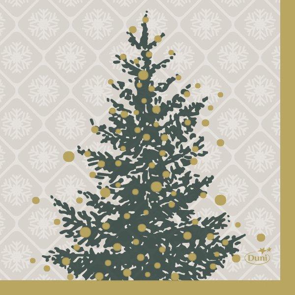 Papierservietten Grau, Grün, 24 x 24 cm, Trees in Gold