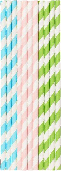 Bio Papiertrinkhalme, pastels, 20 cm