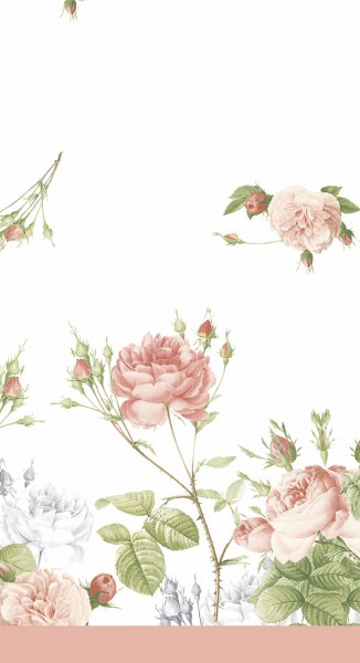 Tischdecke Papier, weiss, rosa, 138x220cm